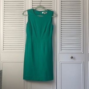 Green DVF knit sheath dress- like new, never worn!